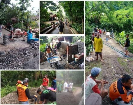 Pelaksanaan Program Padat Karya Cor Blok Dusun Ploso dan Purworejo